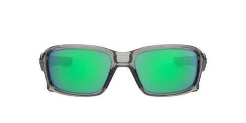 Oakley - Straightlink Gray/Green Mirror Wrap Men Sunglasses - 61mm