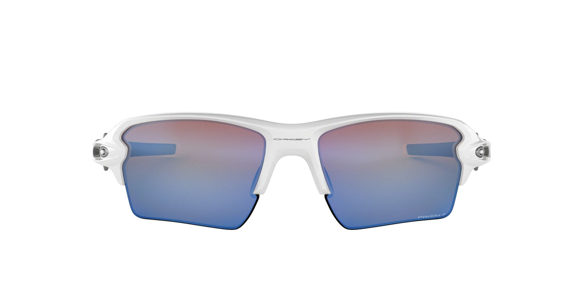 Oakley - Flak 2.0 XL Polished White/Prizm Deep H2O Polarized Wrap Men Sunglasses - 59mm