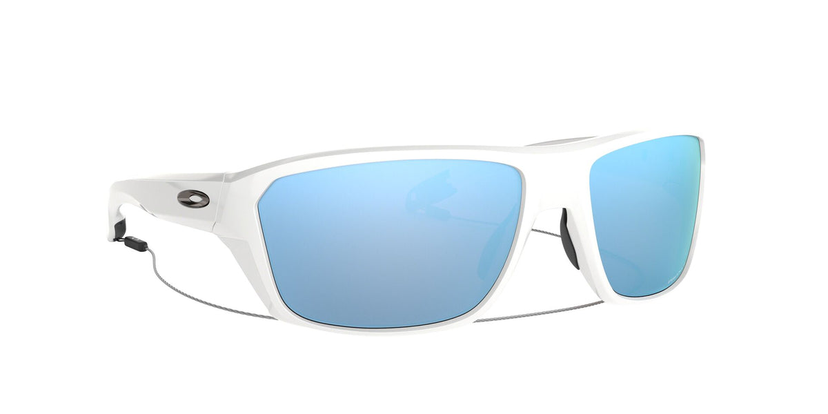 Oakley - Split Shot Polished White/Prizm Deep H2O Polarized Rectangle Men Sunglasses - 64mm