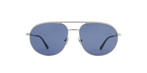 Tom Ford - FT0772 Matte Dark Ruthenium/Blue Aviator Men Sunglasses - 59mm