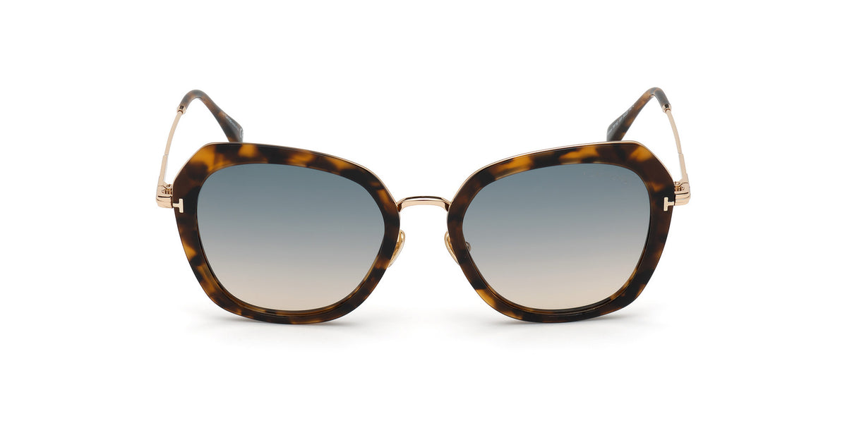 Tom Ford - FT0792 Coloured Havana/Gradient Green Butterfly Women Sunglasses - 54mm