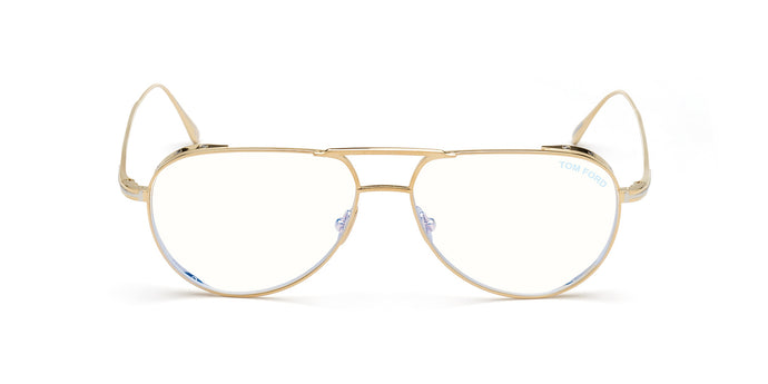 Tom Ford - FT5658-B Shiny Rose Gold/Clear Aviator Men Eyeglasses - 56mm