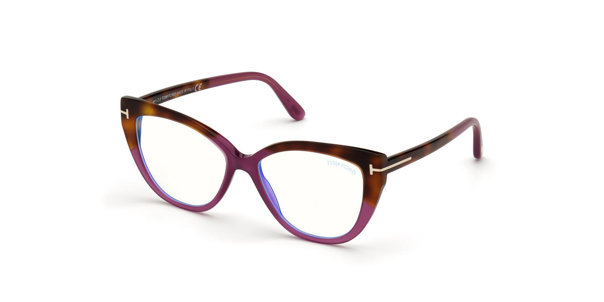 Tom Ford - FT5673-B Shiny Violet/Clear Square Women Eyeglasses - 54mm