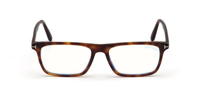 Tom Ford - FT5681-B Red Havana/Clear Rectangular Men Eyeglasses - 54mm