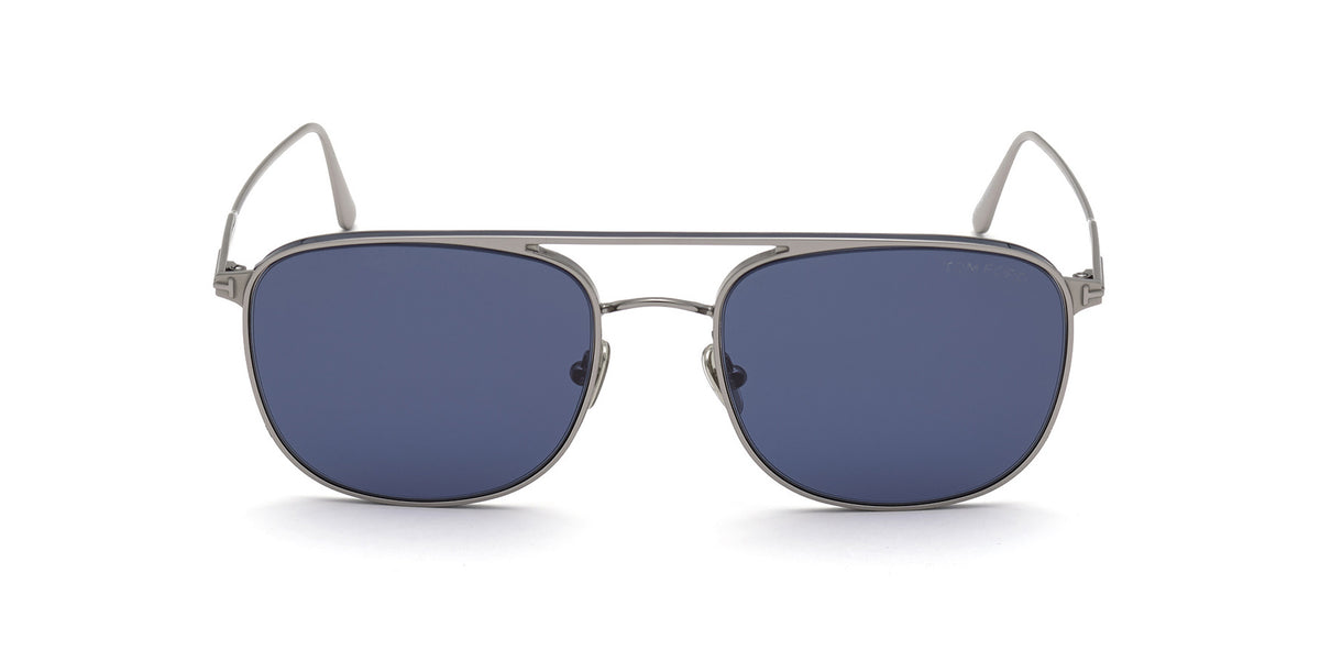 Tom Ford - FT0827 Shiny Light Ruthenium/Blue Navigator Men Sunglasses - 56mm