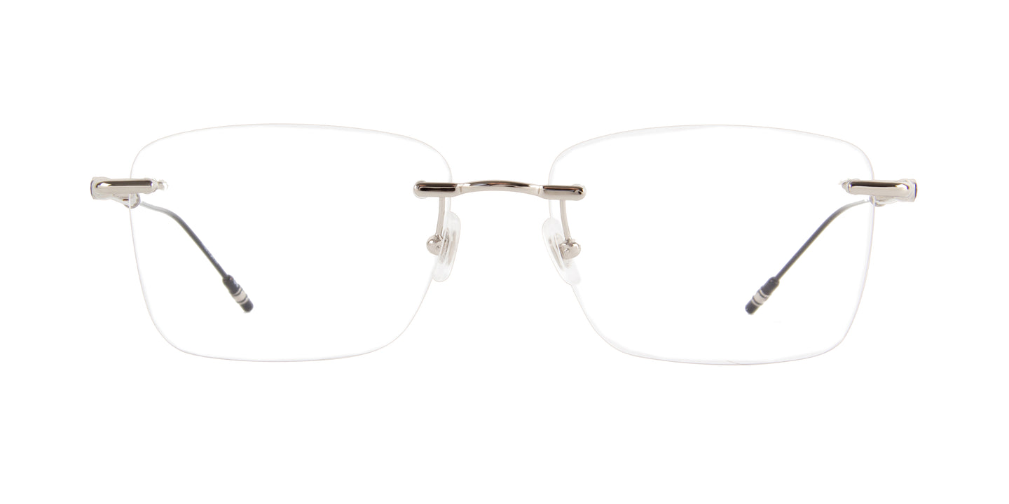 Montblanc - MB0038O Silver/Clear Rimless Men Eyeglasses - 57mm