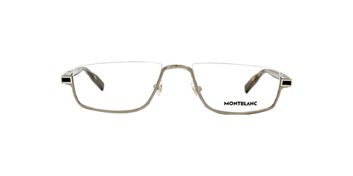 Montblanc - MB0044O Ruthenium/Clear Rectangular Men Eyeglasses - 55mm