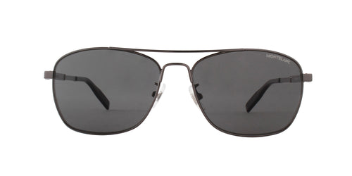 Montblanc - MB0026S Ruthenium/Grey Aviator Men Sunglasses - 59mm