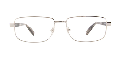 Montblanc - MB0034O Silver/Clear Rectangular Men Eyeglasses - 58mm
