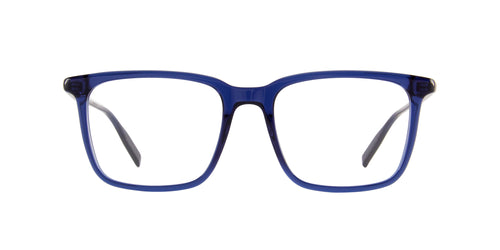 Mont Blanc - MB0011O Blue Rectangular Men Eyeglasses - 54mm