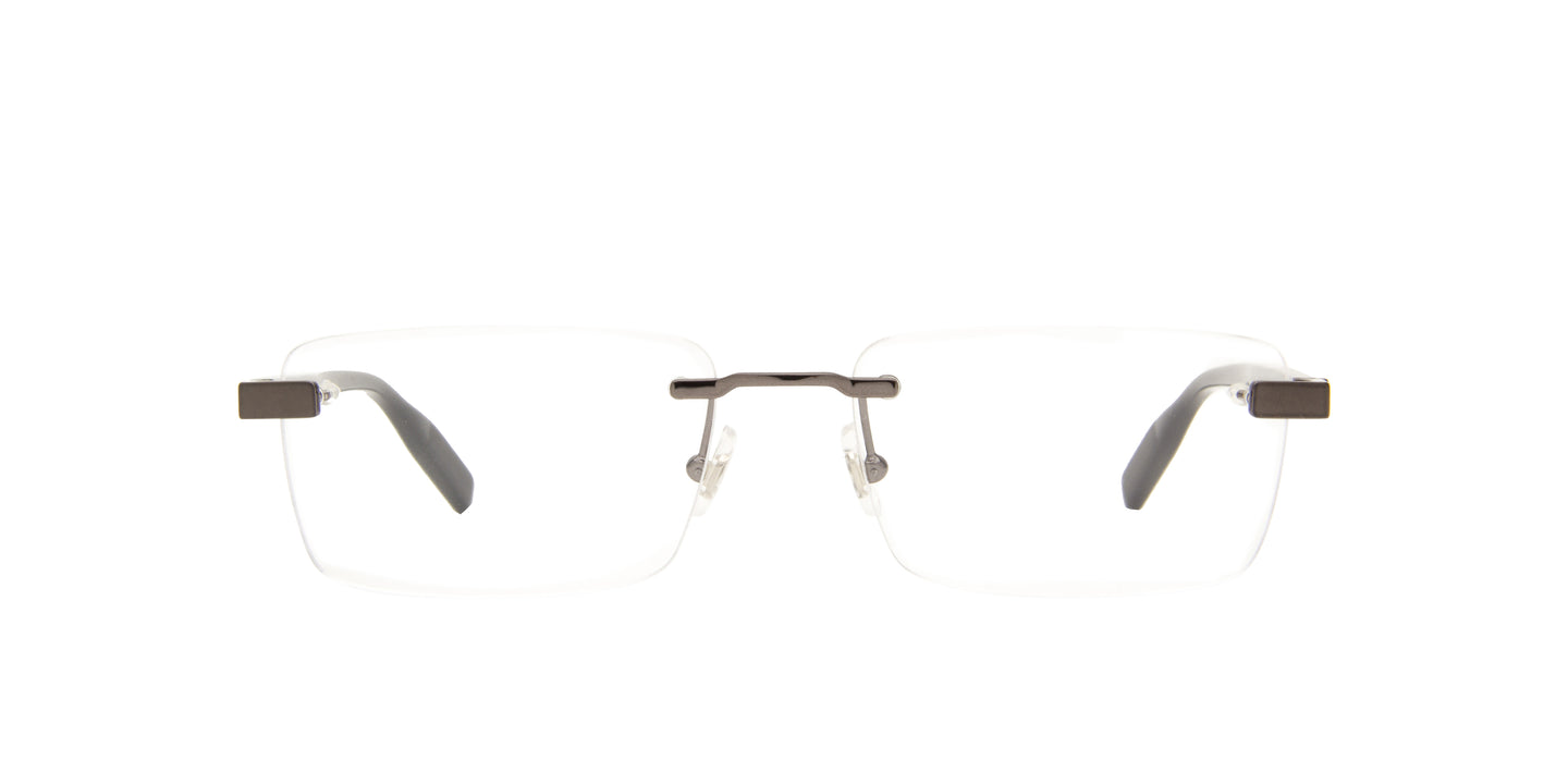 Montblanc - MB0055O Ruthenium/Clear Rimless Men Eyeglasses - 56mm