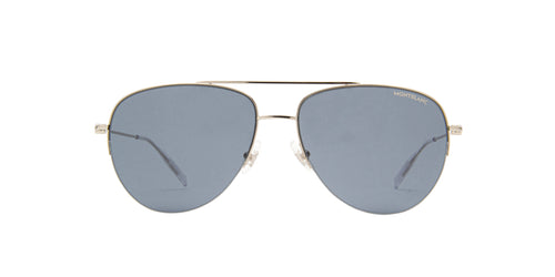 Montblanc - MB0074S Silver/Blue Aviator Men Sunglasses - 59mm