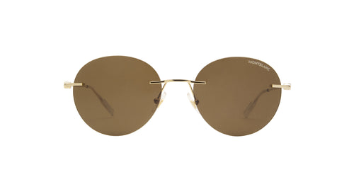 Montblanc - MB0073S Gold/Brown Round Men Sunglasses - 54mm
