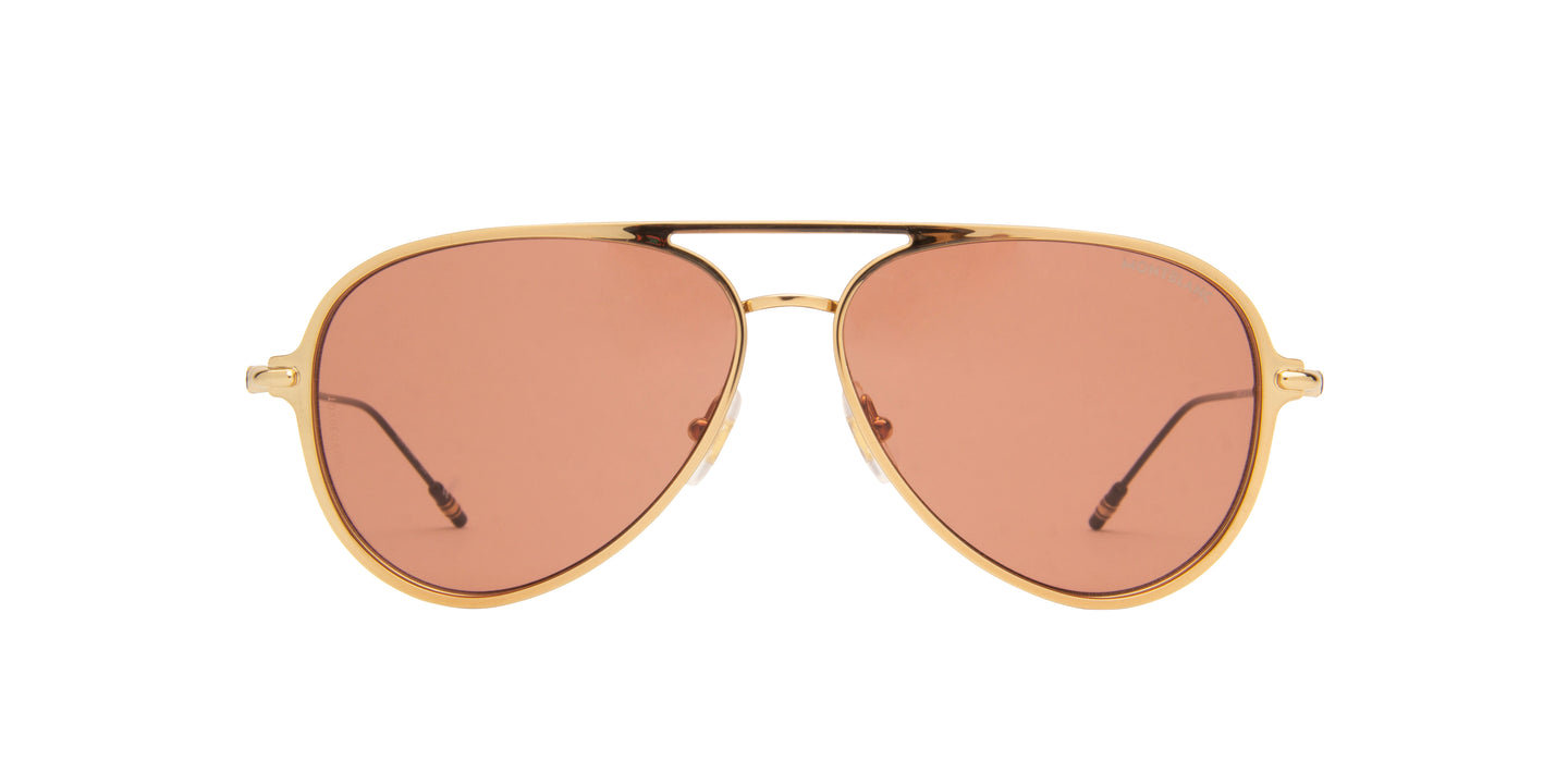 Montblanc - MB0059S Gold/Brown Aviator Men Sunglasses - 59mm