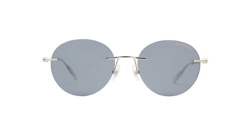 Montblanc - MB0073S Silver/Blue Round Men Sunglasses - 54mm