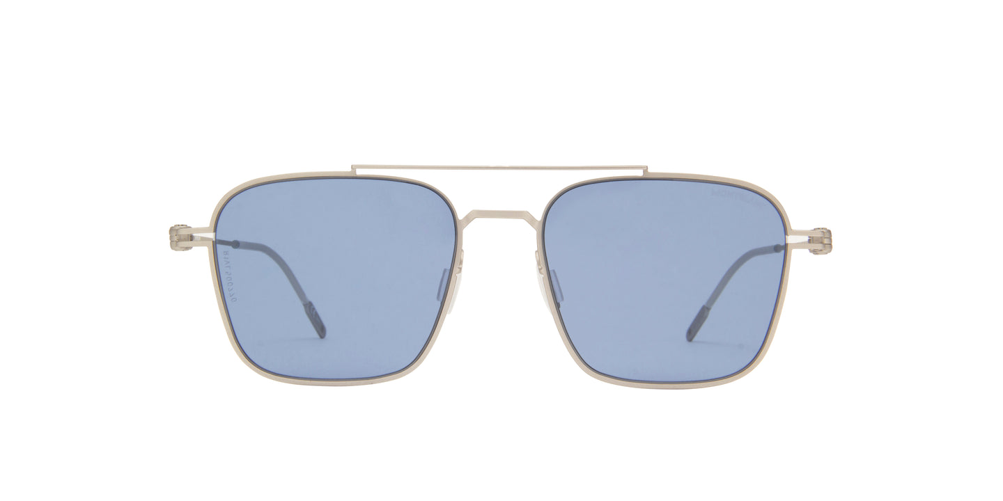 Montblanc - MB0050S Silver/Blue Aviator Men Sunglasses - 54mm