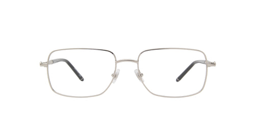 Montblanc - MB0072O Silver/Clear Rectangular Men Eyeglasses - 57mm