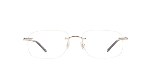 Montblanc - MB0071O Silver/Clear Rimless Men Eyeglasses - 58mm