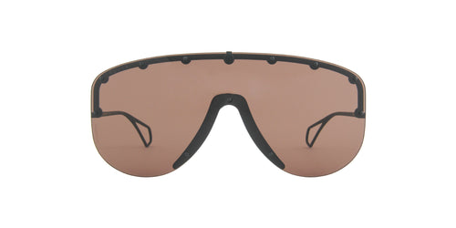 Gucci - GG0667S Black/Brown Shield Men Sunglasses - 99mm
