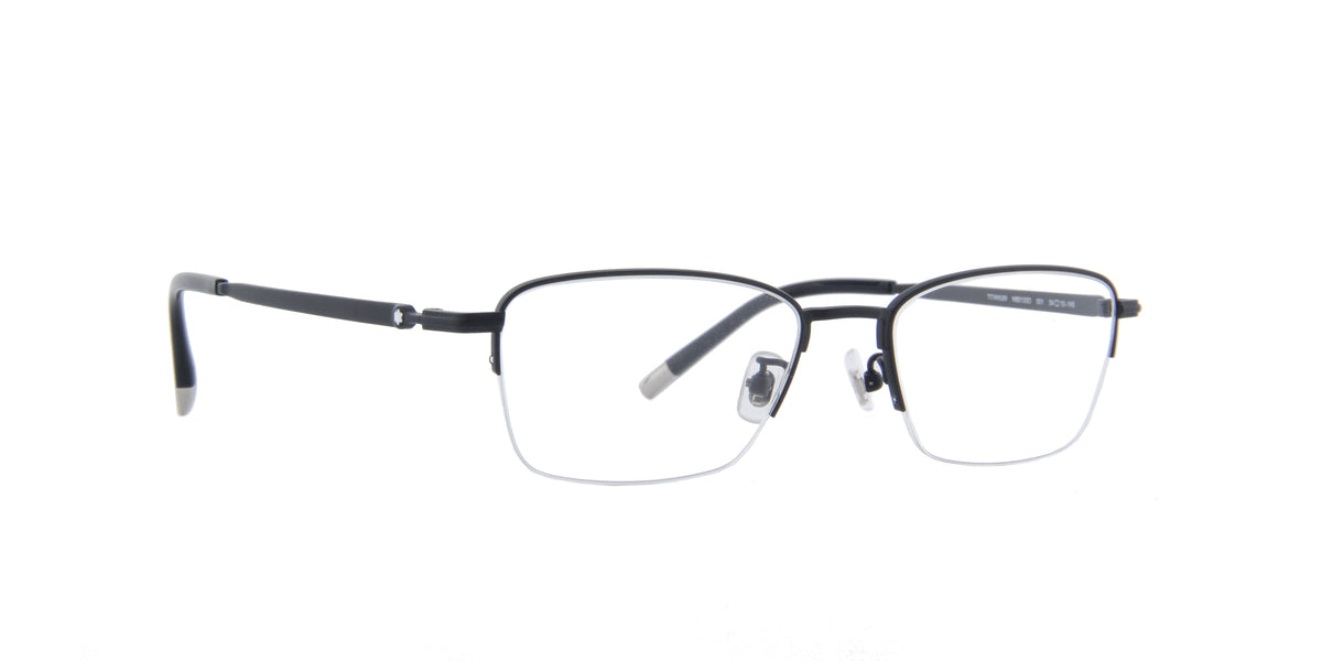 Montblanc - MB0133O Semi Matte Black Rectangular Men Eyeglasses - 54mm