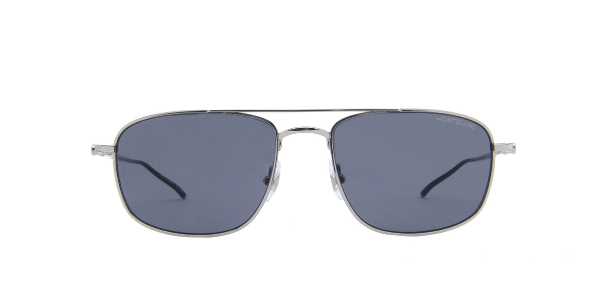 Montblanc - MB0127S Shiny Silver/Solid Grey Aviator Men Sunglasses - 56mm