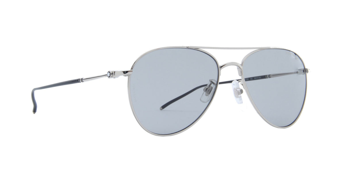 Montblanc - MB0128S Shiny Silver/Solid Light Grey Aviator Men Sunglasses - 58mm