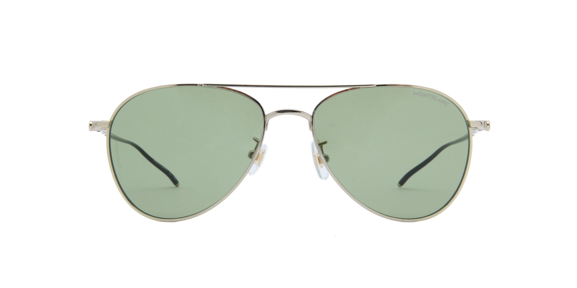Montblanc - MB0128S Shiny Light Gold/Solid Green Aviator Men Sunglasses - 58mm