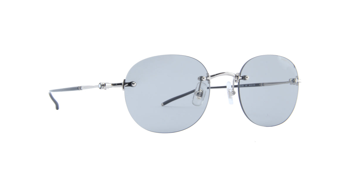 Montblanc - MB0126S Shiny Silver/Solid Light Grey Round Men Sunglasses - 54mm
