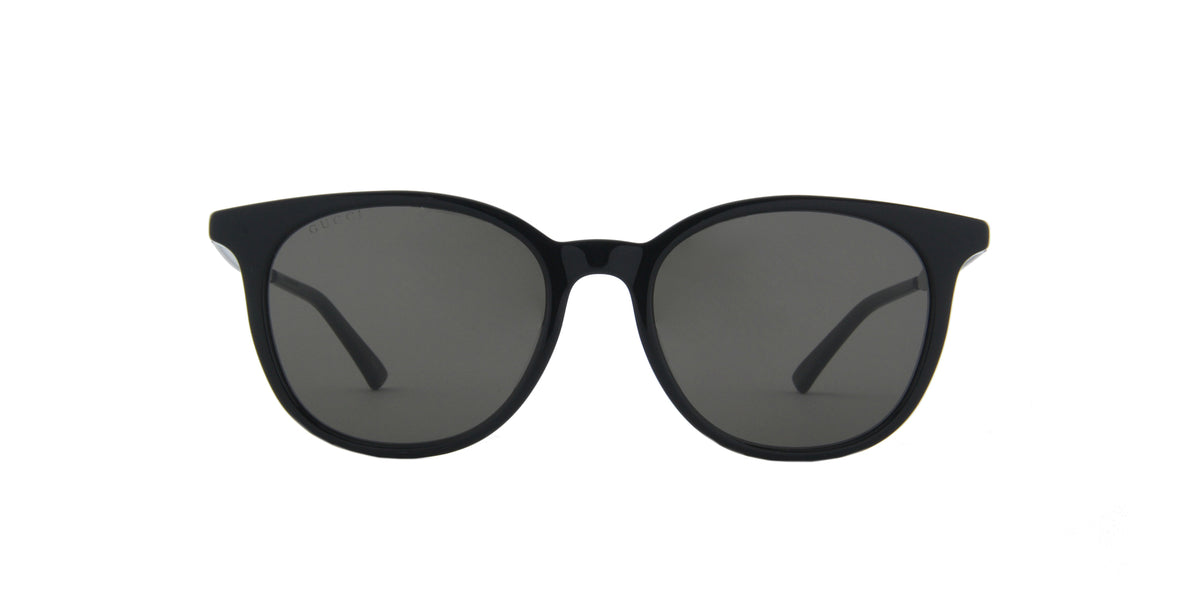 Gucci - GG0830SK Shiny Solid Black/Solid Grey Round Men Sunglasses - 54mm