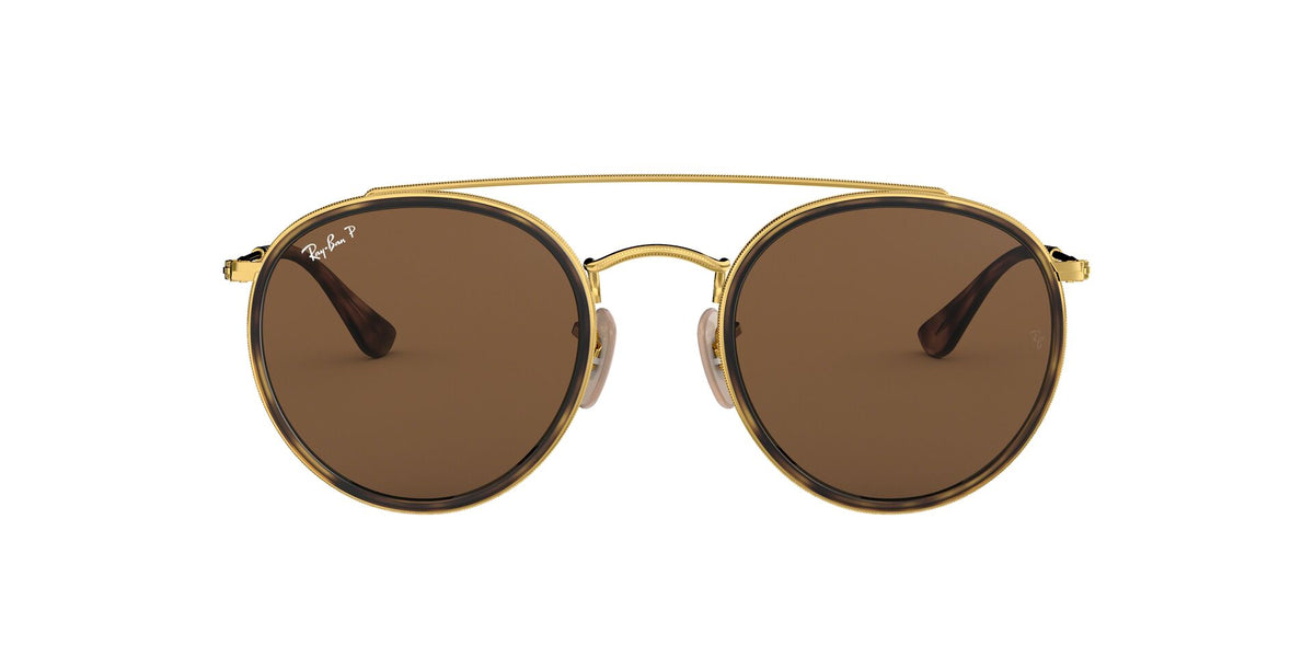 Ray Ban - RB3647-N Gold/Brown Polarized Oval Unisex Sunglasses - 51mm