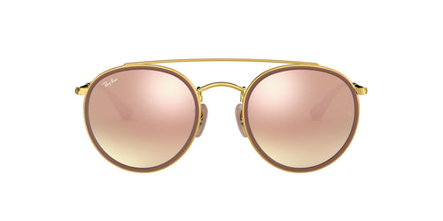 Ray Ban - RB3647N Gold Brown/Pink Mirror Oval Unisex Sunglasses - 51mm