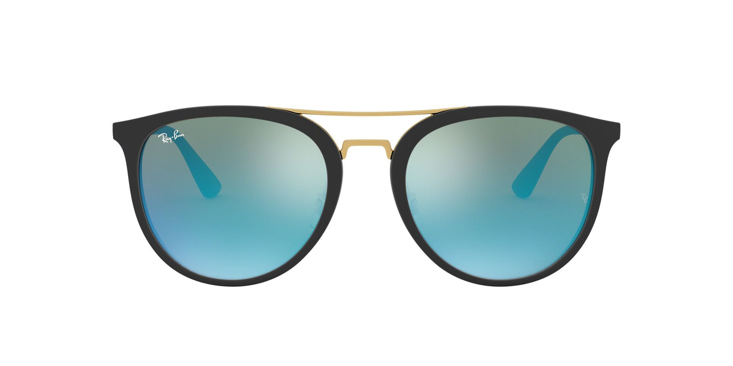 Ray Ban - RB4285 Black/Blue Mirror Oval Unisex Sunglasses - 55mm