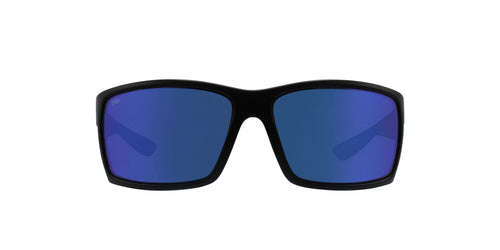 Costa Del Mar - Reefton Black/Blue Mirror Polarized Rectangular Men Sunglasses