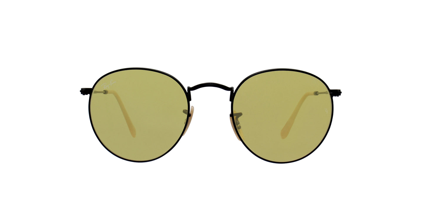Ray Ban - Round Metal Black/Yellow Oval Unisex Sunglasses - 50mm