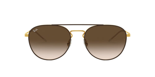 Ray Ban - RB3589 Gold Oval Unisex Sunglasses - 55mm