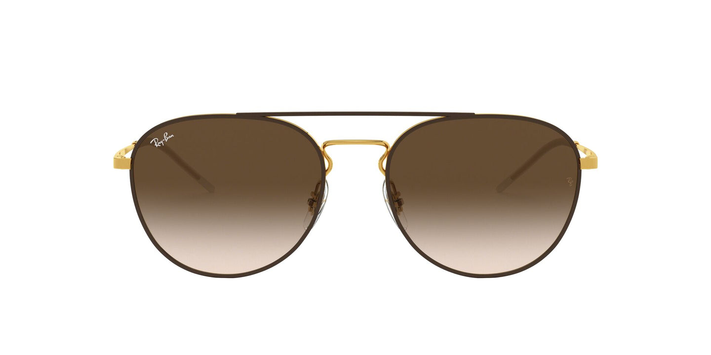 Ray Ban - RB3589 Gold/Brown Gradient Oval Unisex Sunglasses - 55mm