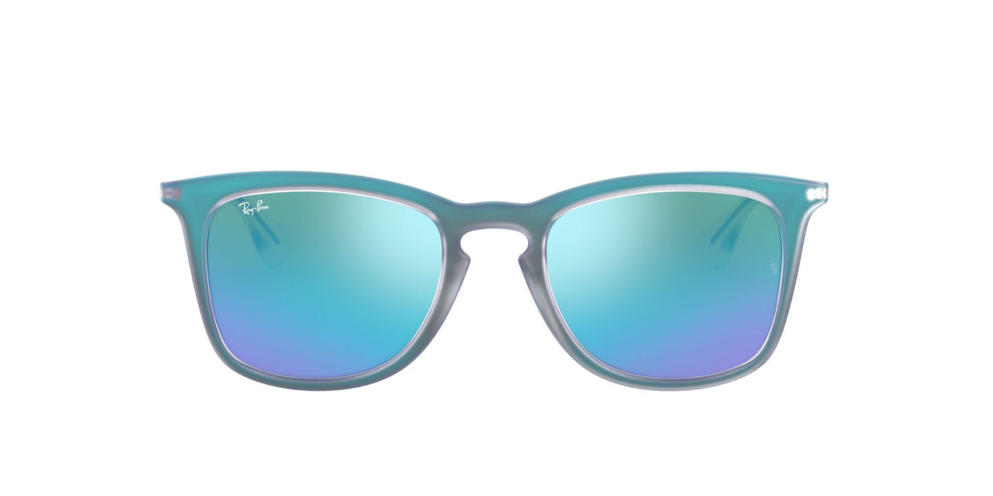 Ray Ban - RB4221 Shot Blue Rubber/Light Green Mirror Square Unisex Sunglasses - 50mm