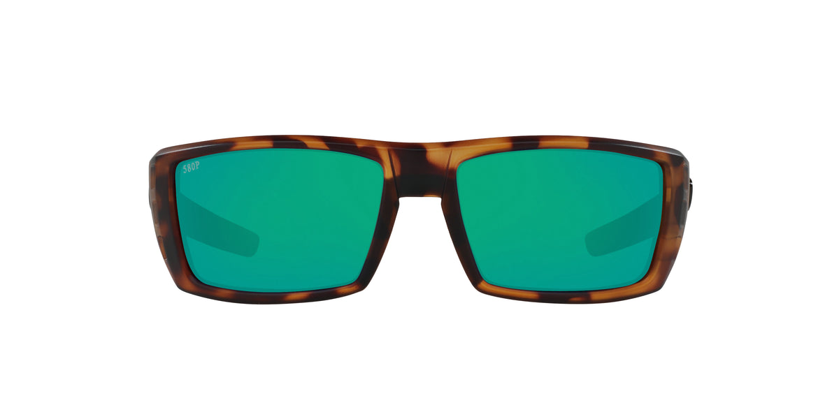 Costa Del Mar - Rafael  Matte Retro Tortoise/Green Mirror Rectangular Men Sunglasses - 59mm