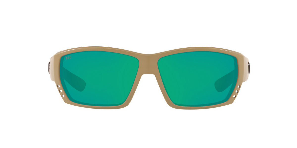 Costa Del Mar - Tuna Alley  Matte Sand/Green Mirror Rectangular Men Sunglasses - 62mm