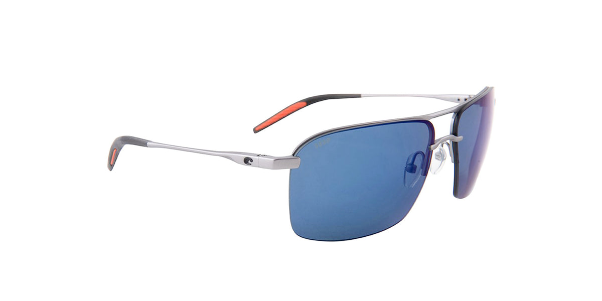 Costa Del Mar - Skimmer Silver/Blue Mirror Polarized Rectangular Men Sunglasses - 62mm