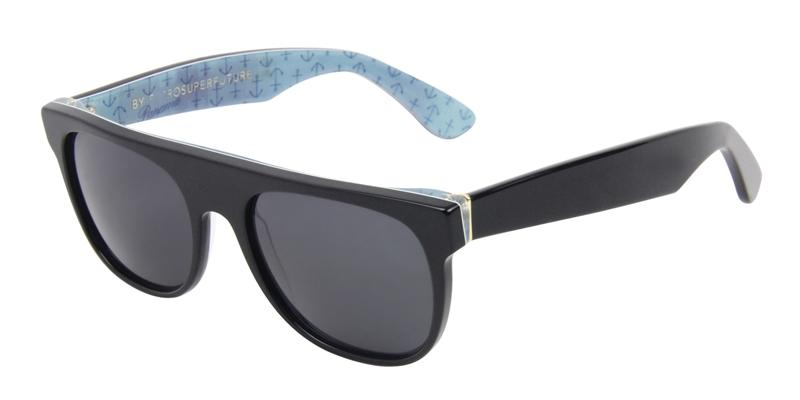 Retrosuperfuture Flat Top Small Black / Gray Lens Sunglasses