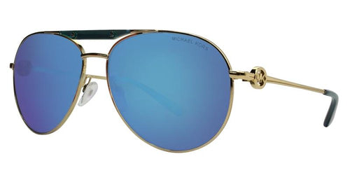 Michael Kors Zanzibar Gold / Blue Lens Mirror Sunglasses