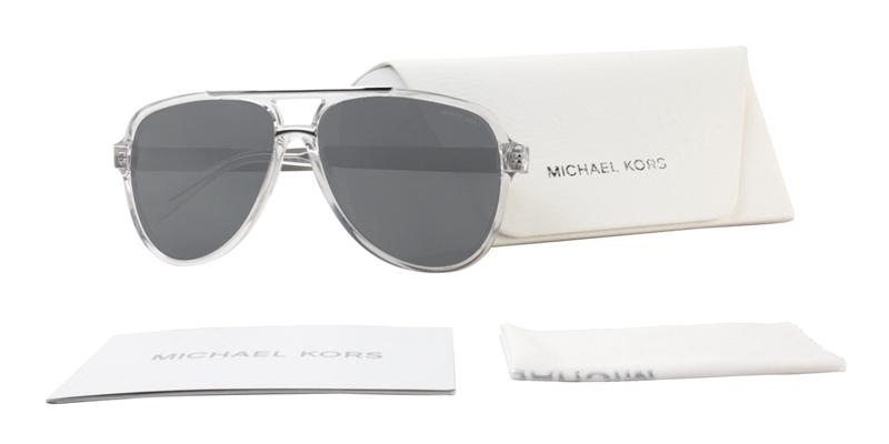 aaa4db74f2740 ... Michael Kors Clementine II Clear   Gray Lens Mirror Sunglasses. Next  slide. Frame Color  Clear
