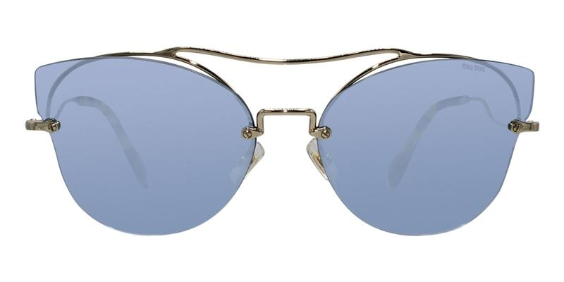 Miu Miu MU52SS Gold / Blue Lens Mirror Sunglasses