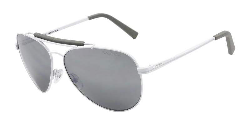 Nautica Men's White / Gray Lens Large Aviator Sunglasses