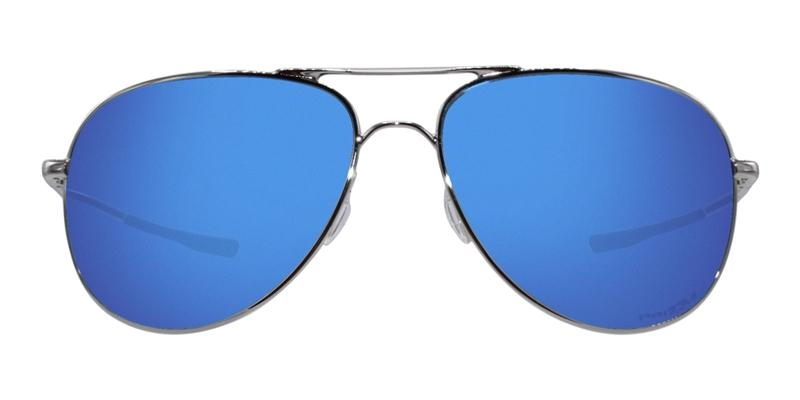 Oakley - Elmont M&L Silver/Blue Aviator Unisex Sunglasses - 58mm