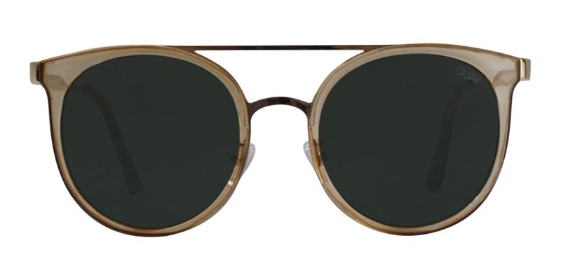 Quay Australia Kandy Gram Gold / Green Lens Sunglasses