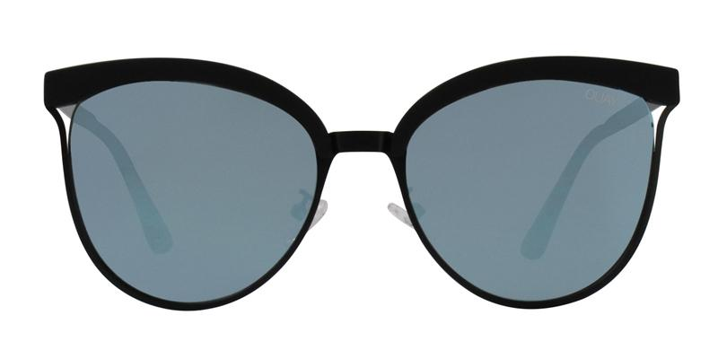 Quay Australia Star Dust Black / Blue Lens Mirror Sunglasses