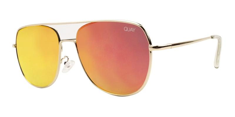 Quay Australia - Running Riot Gold Rectangular Women Sunglasses - mm