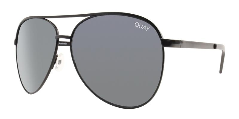Quay Australia - Vivienne Black Aviator Unisex Sunglasses - mm